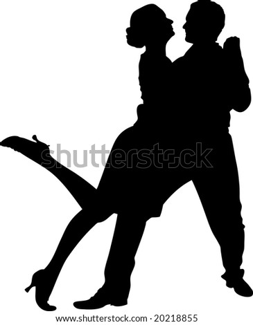 vector illustration of a couple dancing - stock vector