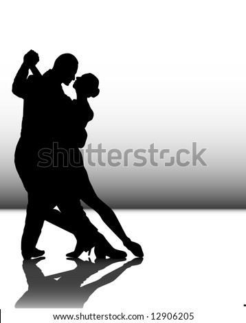 vector illustration of a couple dancing tango - stock vector
