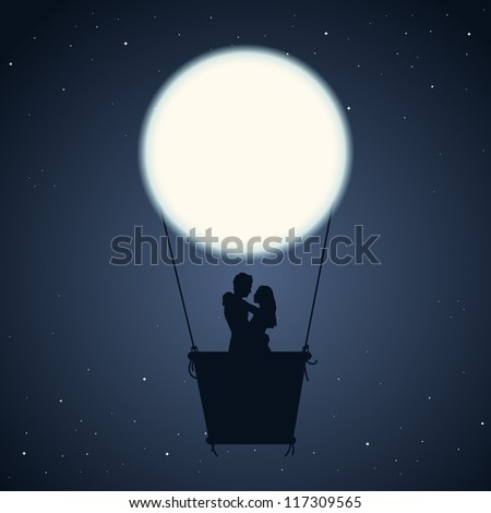 Vector illustration of a couple in an air balloon of moon. - stock vector