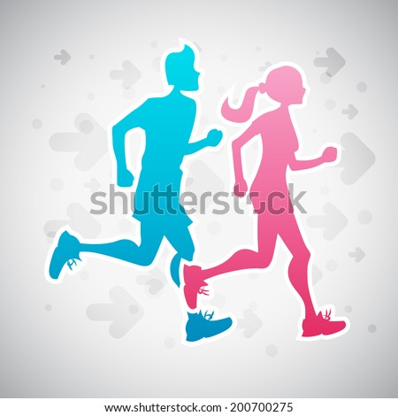Vector illustration of a couple running exercise. - stock vector