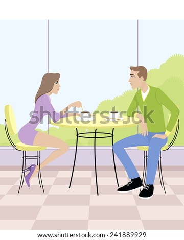 Vector illustration of a couple sitting in cafe - stock vector