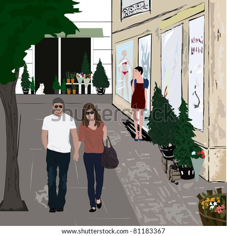 Vector illustration of a couple walking on the street. - stock vector