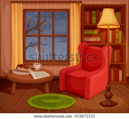 Vector illustration of a cozy autumn living room with armchair, bookcase, lamp and rain outside the window.