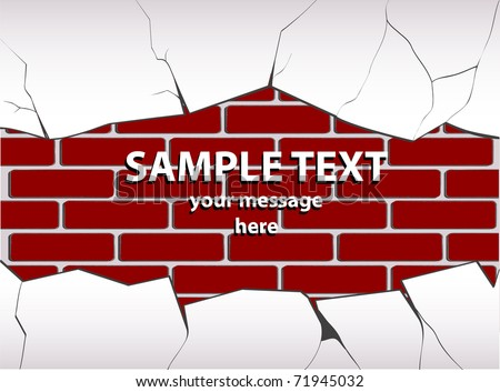 vector illustration of a cracked plastered brick wall - stock vector