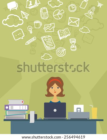 vector illustration of a creative women on his desk working as a finance manager - stock vector