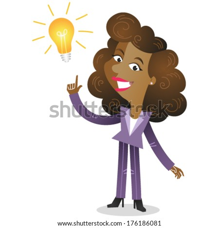 Vector illustration of a creative young african cartoon business woman pointing at light bulb as a symbol of having an idea (JPEG version also available in my gallery).  - stock vector