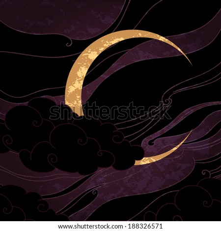Vector illustration of a crescent moon in oriental style - stock vector