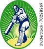 vector illustration of a cricket batsman batting front view - stock vector