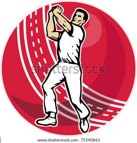 vector illustration of a cricket player bowler bowling with cricket ball in background isolated on white - stock vector
