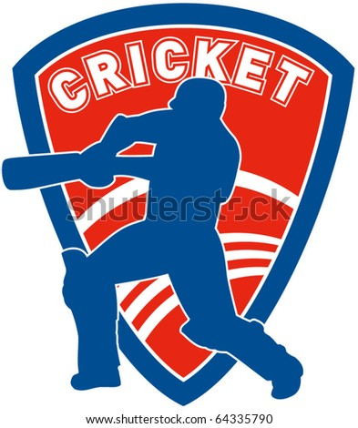 vector illustration of a cricket sports player batsman silhouette batting set inside shield - stock vector