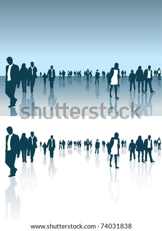 vector illustration of a crowd of people in normal clothes and business suits - stock vector