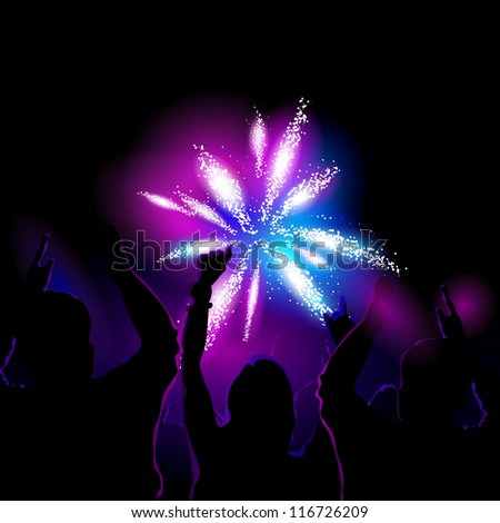 Vector illustration of a crowd watching and cheering for fireworks show - stock vector