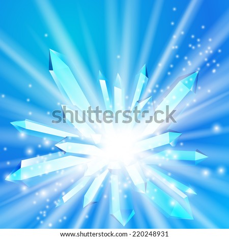 Vector illustration of a crystal with rays coming from the inside, burst of sparkling lights, big bang or supernova, or miracle gemstone on bright blue color background with magical stardust - stock vector
