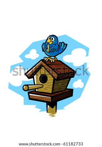 Vector illustration of a cute bluebird eating a seed while sitting on a wooden birdhouse. - stock vector
