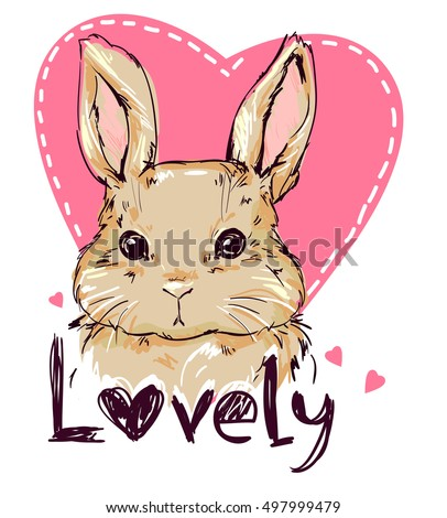 vector illustration of a cute bunny, rabbit. Hand Drawn Vector Illustration of Bunny.print design bunny. card for Valentine's Day