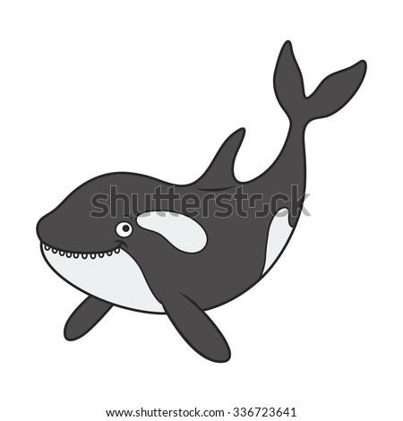 Vector illustration of a cute Cartoon killer whale. marine theme - stock vector