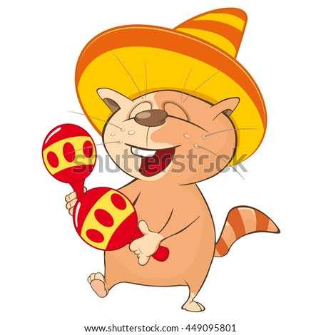 Vector Illustration of a Cute Cat Mexican. Cartoon Character - stock vector