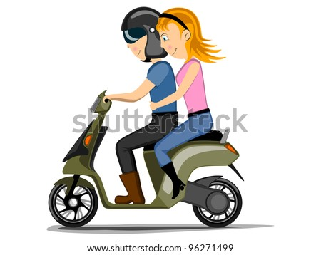 Vector illustration of a cute couple boy and girl are in driving mood, isolated on white background. - stock vector