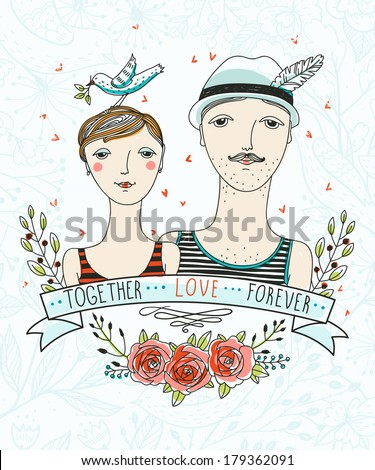 vector illustration of a cute couple with vintage flowers and ribbons - stock vector