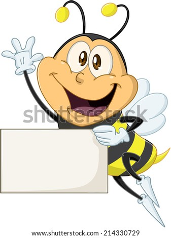 Vector illustration of a cute flying bee holds sign and waves  - stock vector