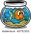Vector illustration of a cute goldfish in a round fish tank. - stock vector
