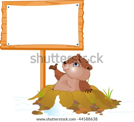 Vector illustration of a cute groundhog popping out of a hole near billboard - stock vector