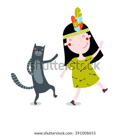 Vector illustration of a cute little girl with a cat. The girl is dancing. It can be used as a poster, postcard invitation for baby shower. - stock vector