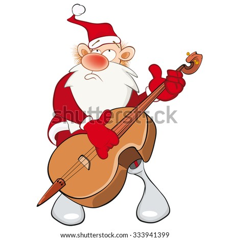 Vector Illustration of a Cute Santa Claus and a Cello. Cartoon Character