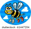 Vector illustration of a cute smiling flying bumblebee. - stock photo