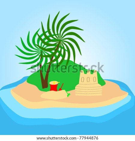 Vector illustration of a cute tropical beach on island with sand    Sandcastle Icon