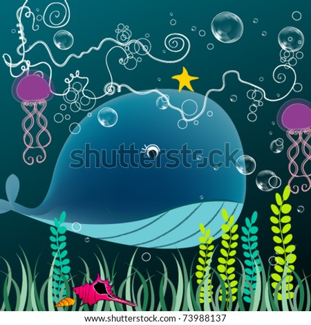 Vector illustration of a cute whale swimming in the ocean - stock vector