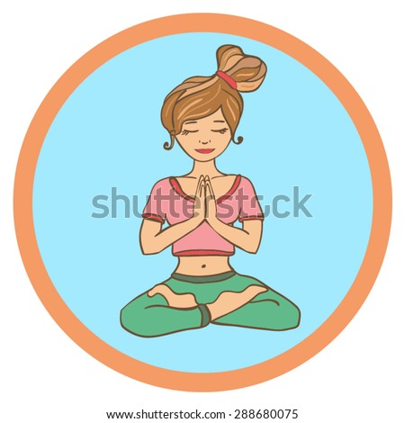 Vector illustration of a cute young girl doing yoga. Slim woman meditating in lotus position and circle frame. Isolated person drawn in doodle style. - stock vector