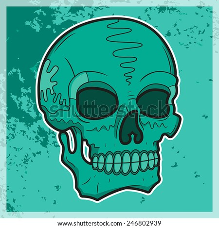 Vector illustration of a cyan skull on a dirty background - stock vector