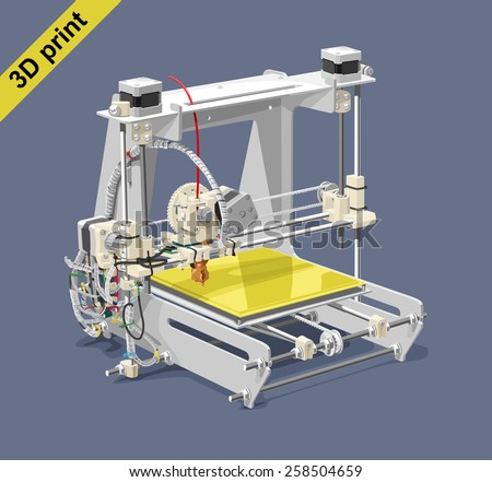 Vector illustration of a 3D printer on gray background. Solid fill only, no gradients.  - stock vector