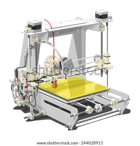 Vector illustration of a 3D printer on white background. Solid fill only, no gradients.  - stock vector