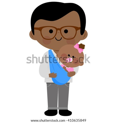 Vector Illustration of a dad carrying his baby daughter in a sling. - stock vector