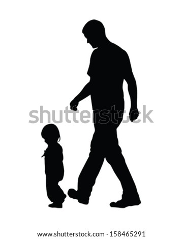 Vector illustration of a daddy and his child