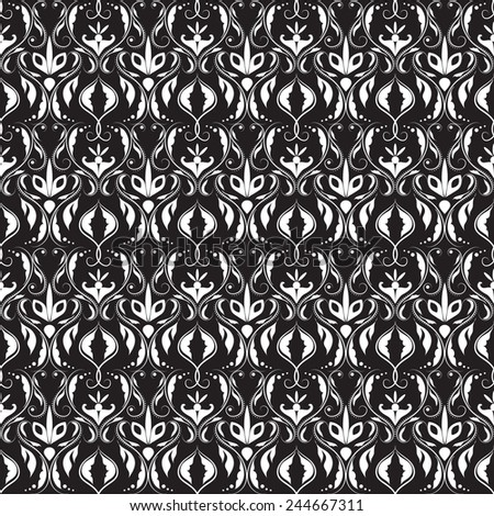Vector illustration of a damask pattern in black and white - stock vector