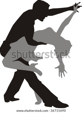 vector illustration of a dancing couple - stock vector