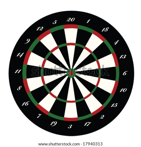 Vector illustration of a dartboard. For jpeg version, please see my portfolio.