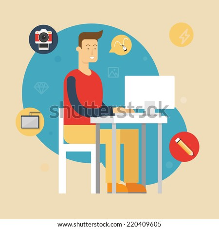 Vector illustration of a designer sitting at the desk and working on computer in the office. Flat style - stock vector