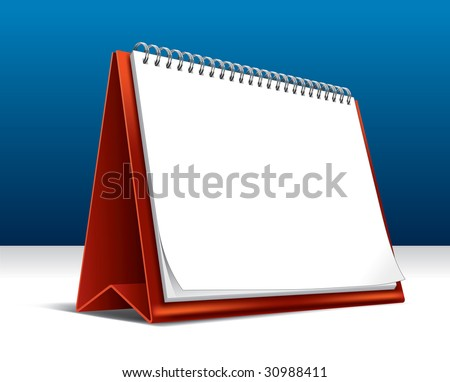 Vector illustration of a 2010 desk calendar showing a blank page