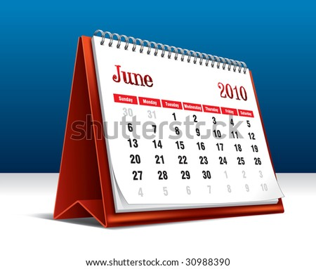 Vector illustration of a 2010 desk calendar showing the month June - stock vector