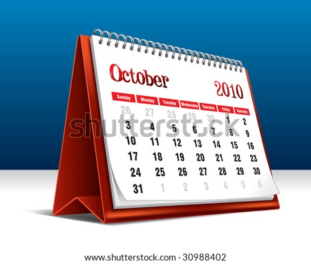 Vector illustration of a 2010 desk calendar showing the month October