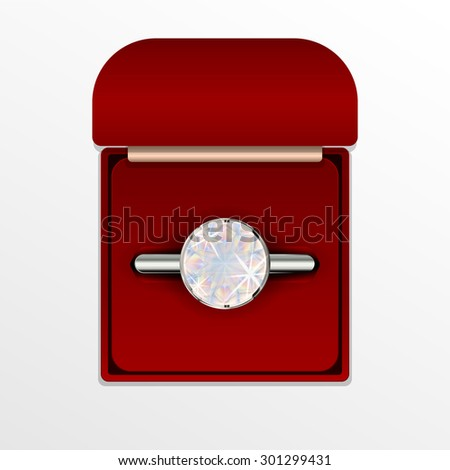 Vector illustration of a diamond ring in a red box. - stock vector