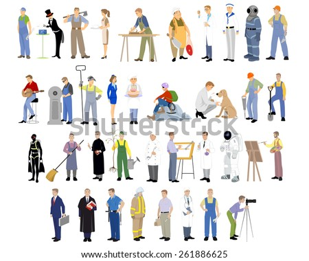 Vector illustration of a different professions set - stock vector