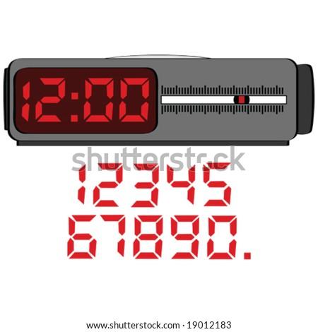 Vector illustration of a digital alarm clock - stock vector