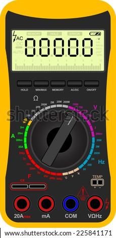 Vector illustration of a digital multimeter - stock vector