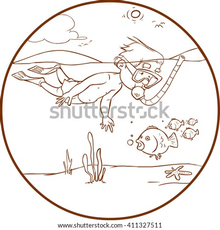 vector illustration of a Diving Kid - stock vector