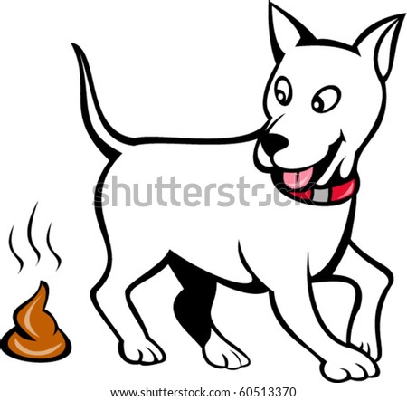 vector illustration of a dog with poo isolated on white - stock vector
